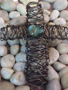 "8"" Long hand wired open wire (no stones filled inside of cross) with a green/blue tone stone wired to the top."